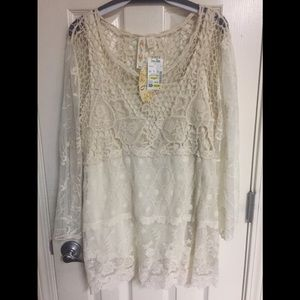 NWT Adiva Lacy long sleeve Top w/ camisole sz. 1X
